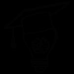 Handgezeichnete Glühbirne mit Hirn und Doktohütchen. Sinnbild für die Trainer während des Personal Mastery Retreats.
